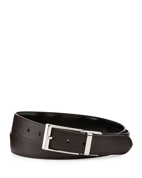 Men's Reversible Leather Belt, Black/Brown