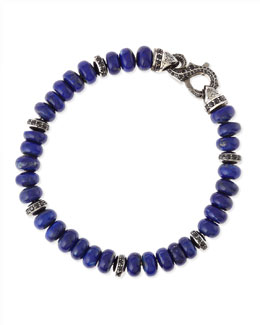 Stephen Webster Thorn Men's Pave Lapis-Bead Bracelet
