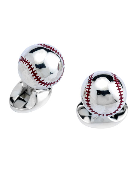 Deakin & Francis Sterling Silver Baseball Cuff Links