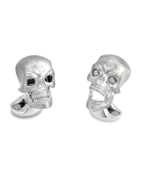 Sterling Silver Hinged-Skull Cuff Links