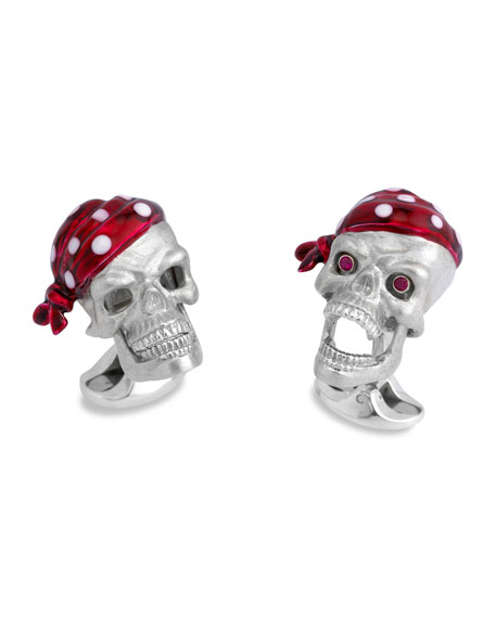 Sterling Silver Pirate-Skull Cuff Links