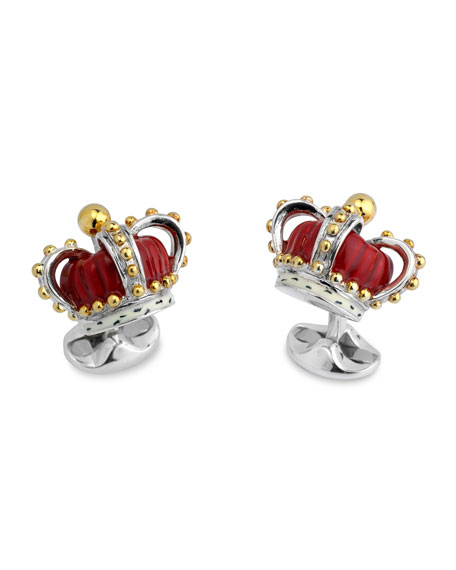 Sterling Silver Red-Crown Cuff Links