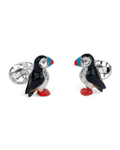 Puffin Sterling Silver Cuff Links