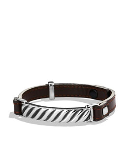 David Yurman Modern Cable ID Bracelet in Brown Leather
