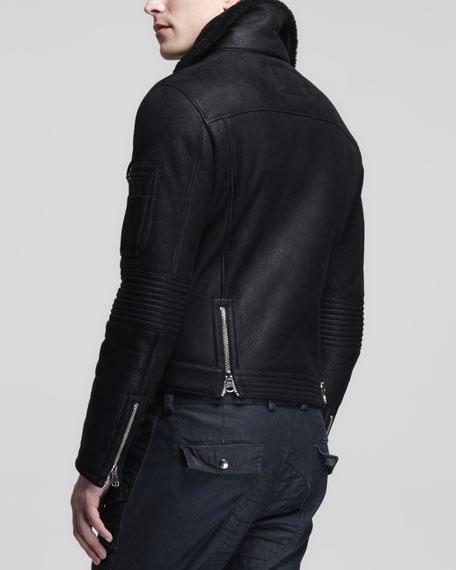 Shearling Moto Jacket, Black