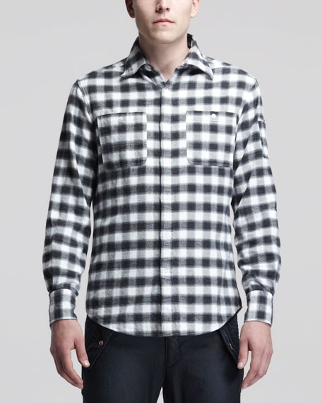 Big Plaid Flannel Shirt, Black/White
