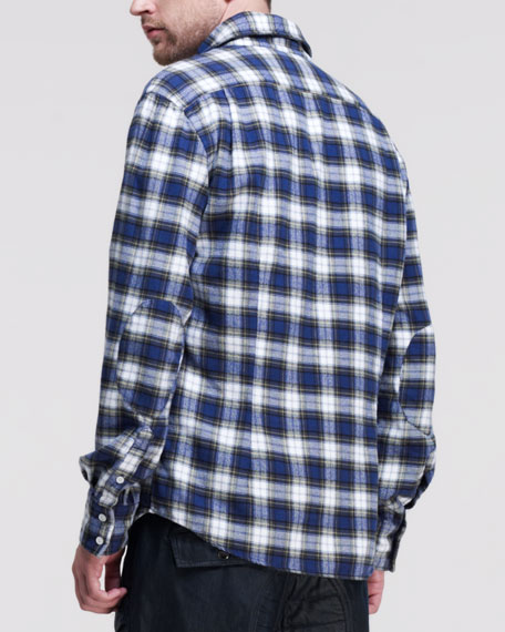 Plaid Flannel Long-Sleeve Shirt, Multi