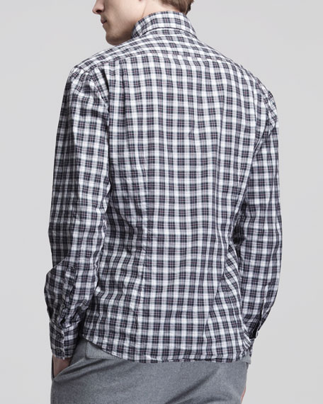 Plaid Poplin Sport Shirt, White/Red/Black