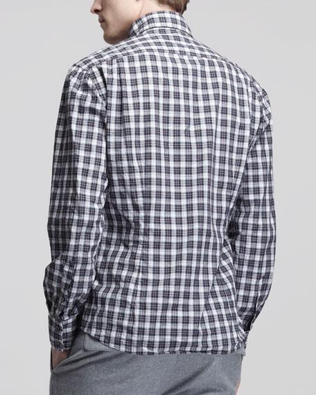 Plaid Poplin Sport Shirt, White/Red/Black