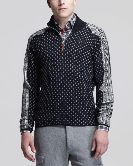 Norwegian Half-Zip Sweater, Navy