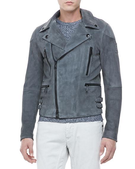Rutherford Suede Biker Jacket, Blue
