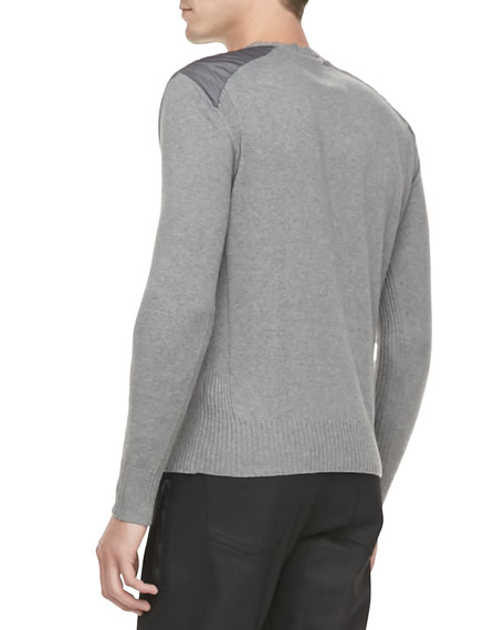 Cotton-Knit Sweater with Quilted Shoulders, Gray