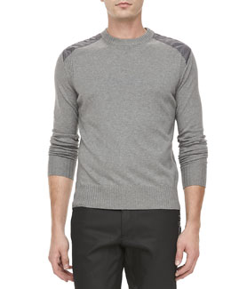 Belstaff Cotton-Knit Sweater with Quilted Shoulders, Gray