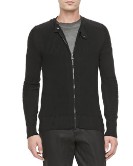 Belstaff Cranfield Moto-Detail Full-Zip Cardigan, Black