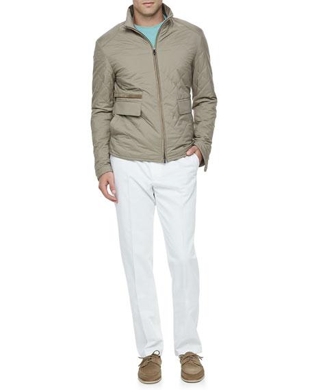 Four-Pocket Cotton/Linen Pants, White