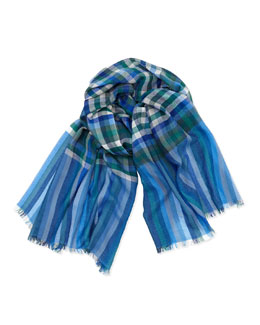 Loro Piana Plaid Cashmere/Silk Scarf, Multi
