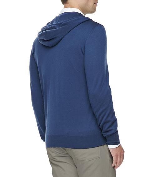 Leather & Cashmere Lightweight Bomber Jacket, Blue