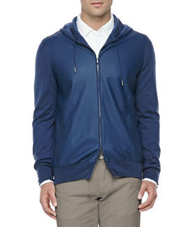 Loro Piana Leather & Cashmere Lightweight Bomber Jacket, Blue
