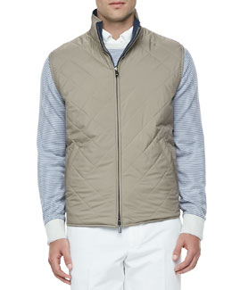 Loro Piana Marlin Quilted Wind/Rain Reversible Vest, Tobacco