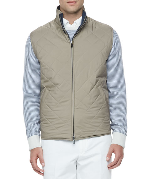 Marlin Quilted Wind/Rain Reversible Vest, Tobacco