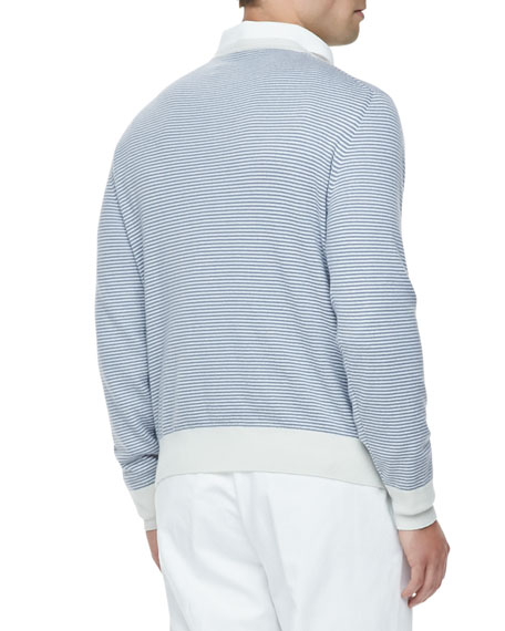 Westport Striped Cashmere Crewneck Sweater, Blue Shadow/White