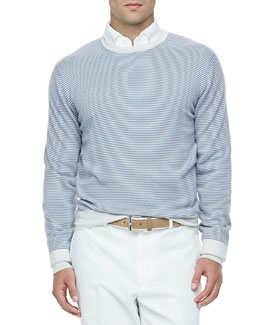 Loro Piana Westport Striped Cashmere Crewneck Sweater, Blue Shadow/White