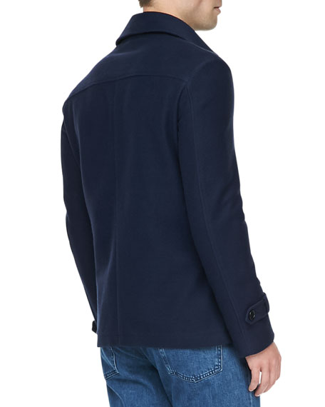 Cotton/Cashmere Pea Coat, Navy