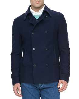 Loro Piana Cotton/Cashmere Pea Coat, Navy
