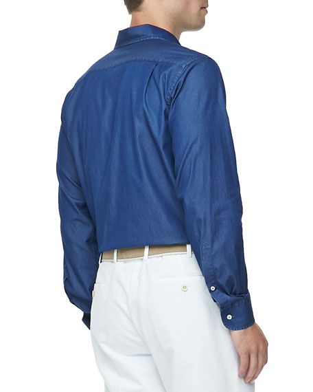 Denim Long-Sleeve Shirt, Atlantis Blue