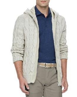 Loro Piana Linen-Blend Cable-Knit Jacket, Canvas Beige