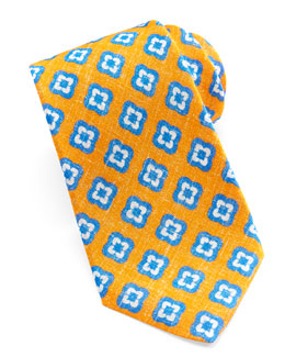 Kiton Floral-Medallion Linen Tie, Orange
