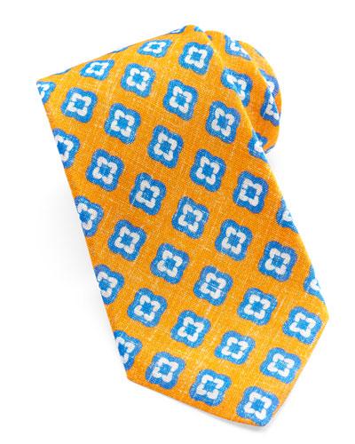 Kiton Floral-Medallion Linen Tie, Orange
