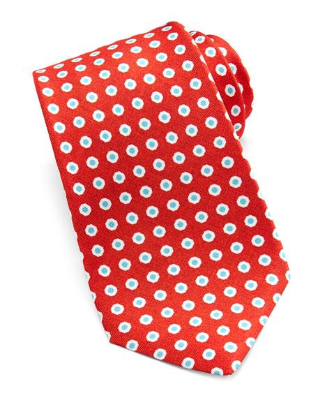 Dot-Print Silk Tie, Red/Blue