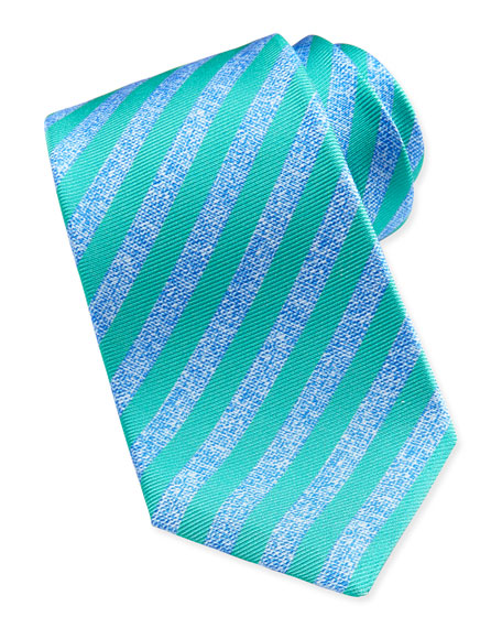 Large-Stripe Silk Tie, Blue/Green