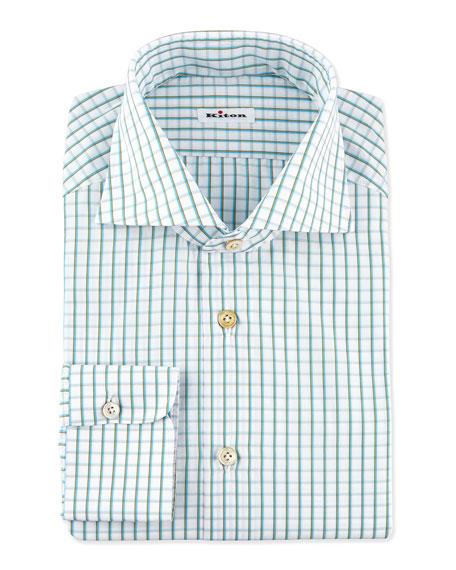 Multi-Check Dress Shirt, Teal/Brown
