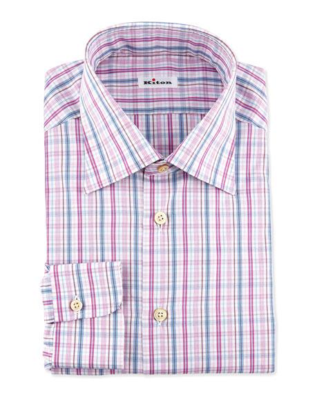 Multi-Check  Dress Shirt, Pink/Purple