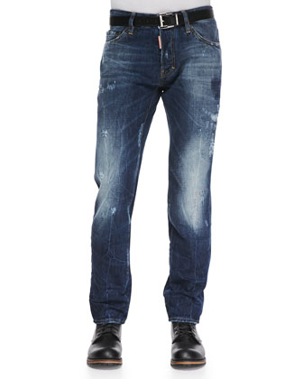 Distressed Washed Denim Jeans, Blue