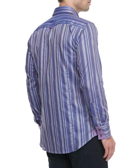 Yunis Striped Jacquard Sport Shirt, Purple