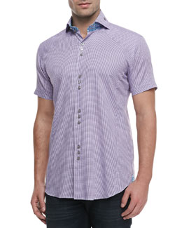 Bogosse Mini D-Matis Jacquard Sport Shirt, Purple
