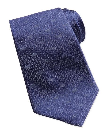 Circle V Logo Silk Tie, Blue