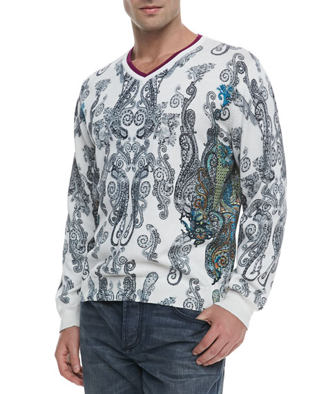 Pablo Paisley V-Neck Pullover Sweater, White