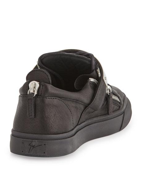 Men's Zip & Buckle Low-Top Sneaker, Black