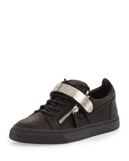 Giuseppe Zanotti Men's Zip & Buckle Low-Top Sneaker, Black