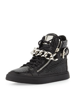 Giuseppe Zanotti Men's Croc-Embossed Chain High-Top Sneaker