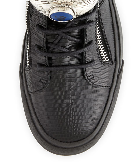 Men's Lizard-Print Leather High-Top Sneaker, Black