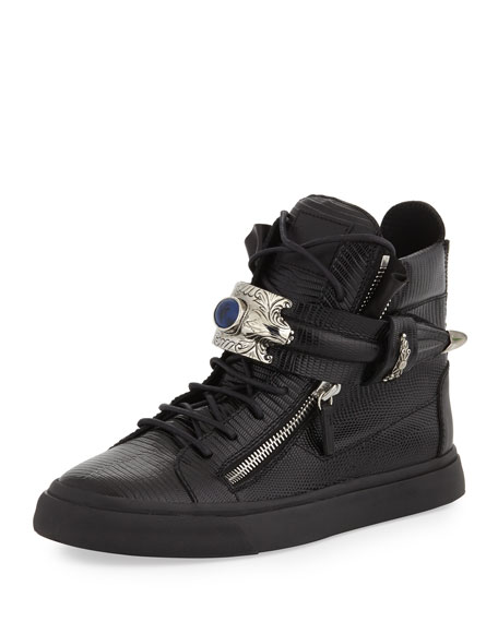 Men's Lizard-Print Leather High-Top Sneaker, Black