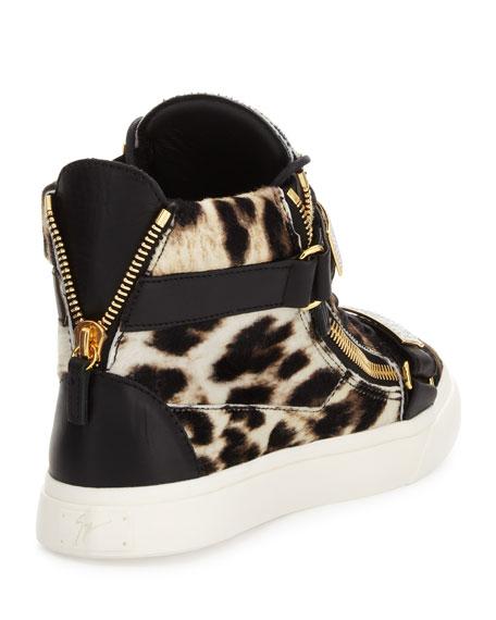 5790ea81c9f3 Giuseppe Zanotti Men's Leopard-Print Calf Hair High-Top Sneaker