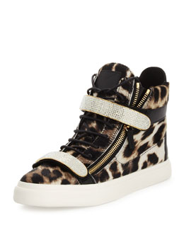 Giuseppe Zanotti Men's Leopard-Print Calf Hair High-Top Sneaker