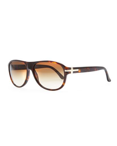 Acetate Aviator Sunglasses, Brown Havana