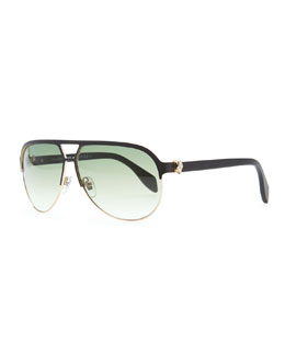Alexander McQueen Gold Skull Aviator Sunglasses, Black
